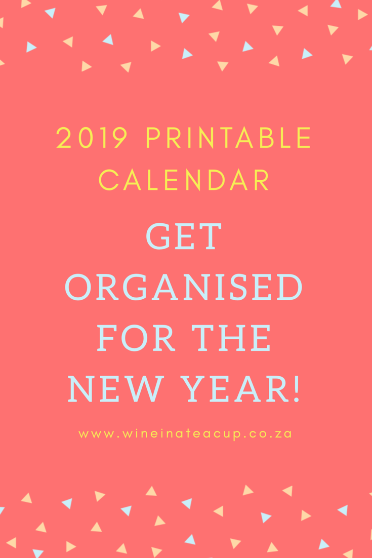 2019 Calendar from Wine in a Teacup